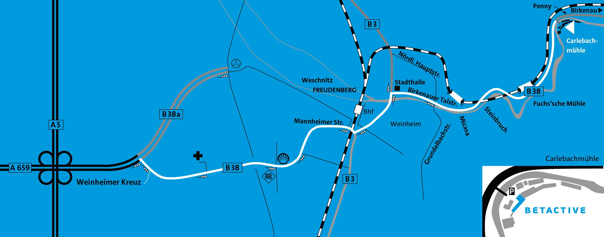 Anfahrtsplan zur Carlebachmühle mit Detailansicht