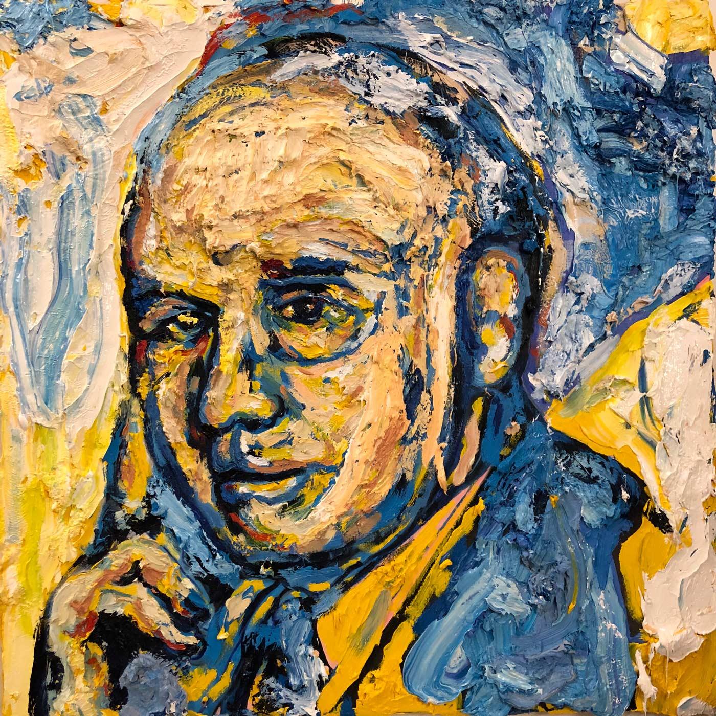 Öl-Porträt des Papstes in blau und gelb