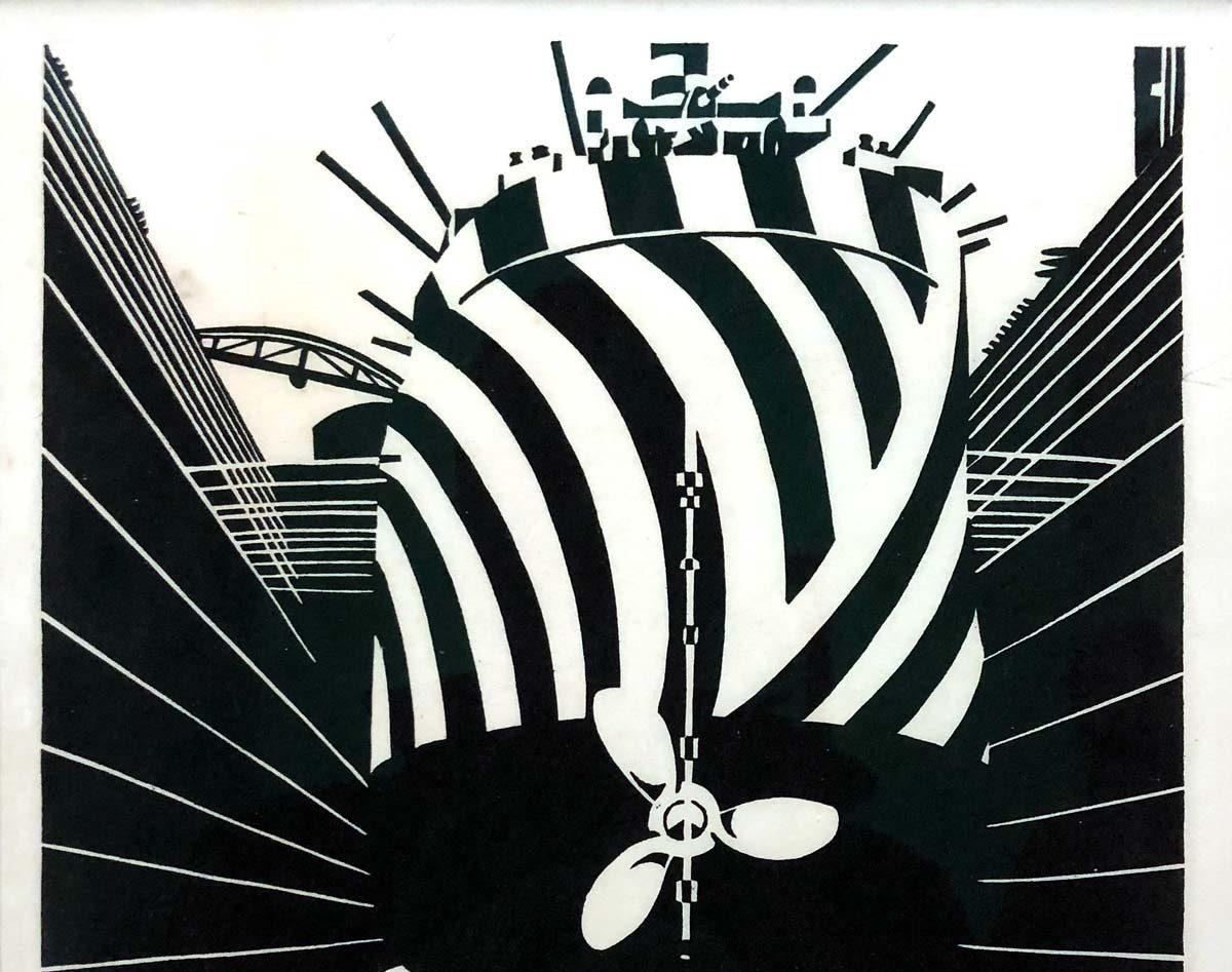 Bild eines Schiffes mit Schiffsschraube in schwarz-weiß