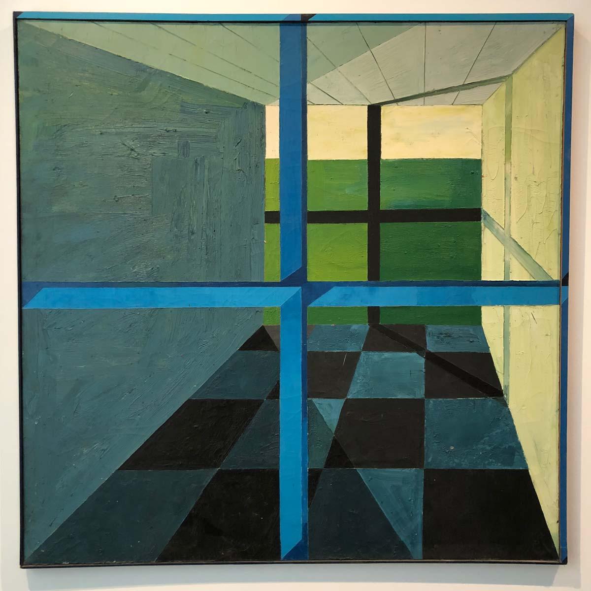 Gemälde zweier Fenster und dem leeren Raum dazwischen