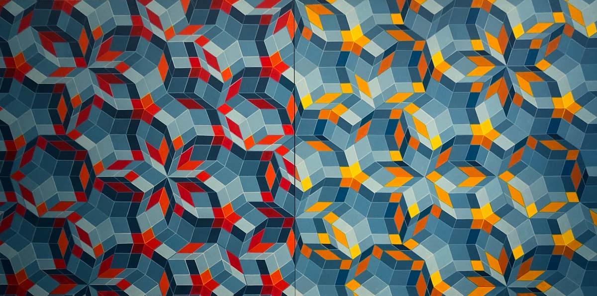 geometrisches Gemälde mit gelben, roten und blauen Vierecken