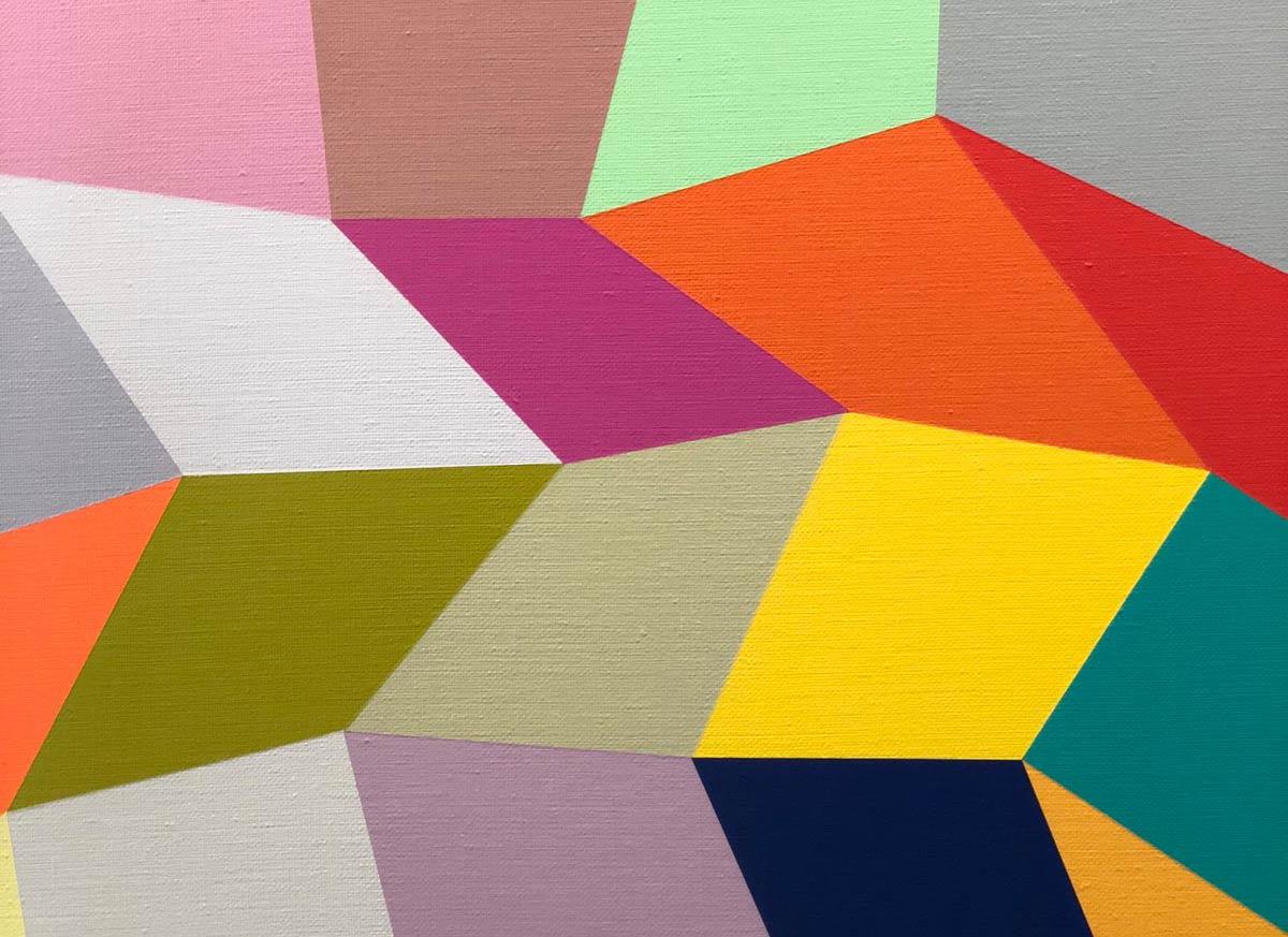 Kunstwerk aus unterschiedlich geformten Vierecken in bunten Farben