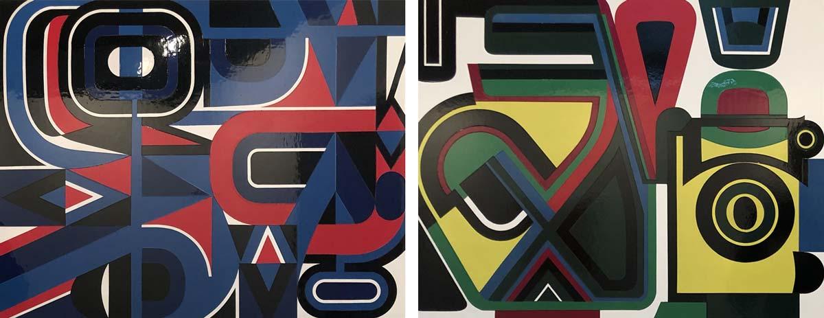 geometrische Formen, die sich ineinander verschlingen in eher düsteren Farben