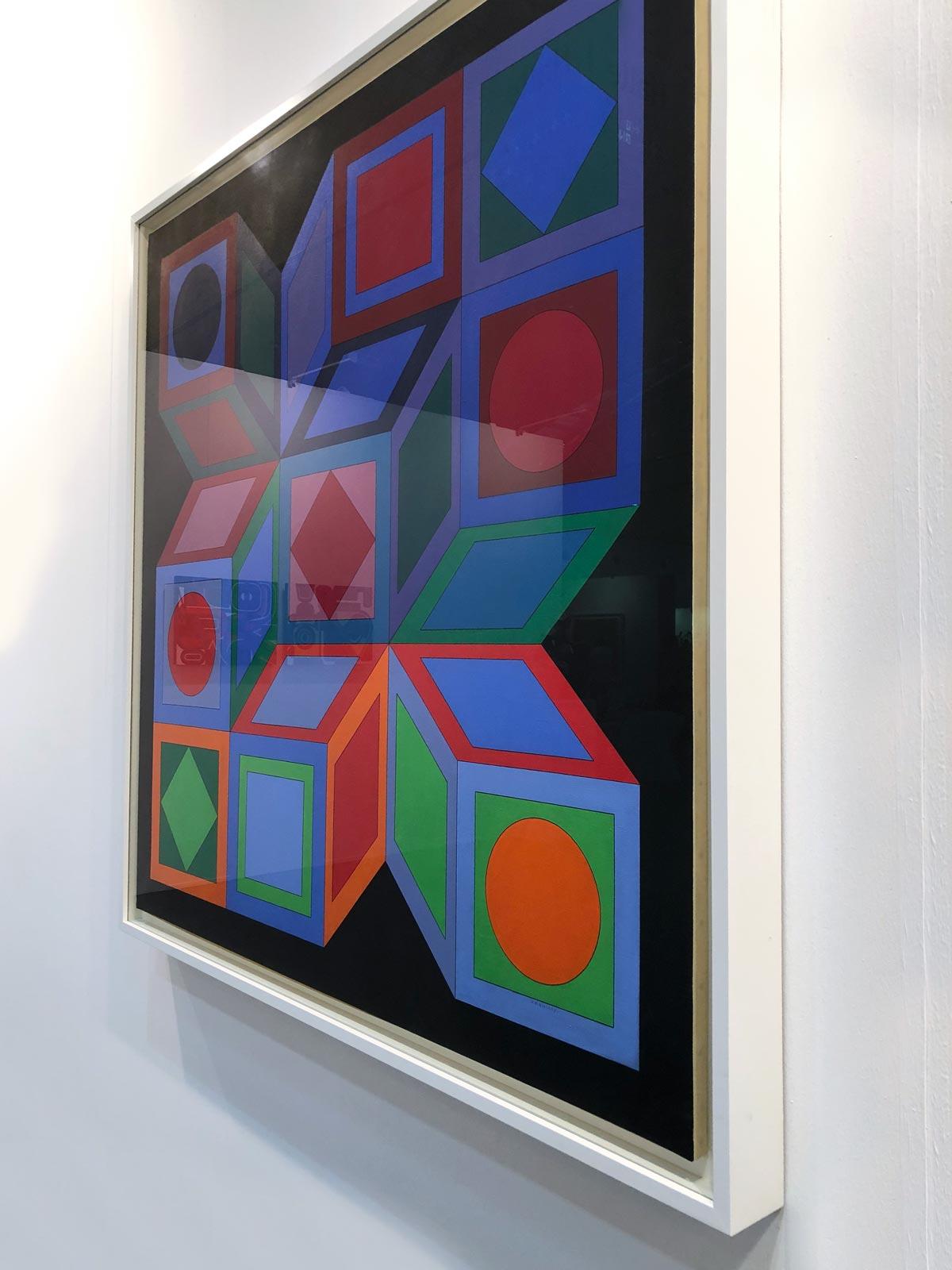 Gemälde von gestapelten Würfeln mit optischer Täuschung