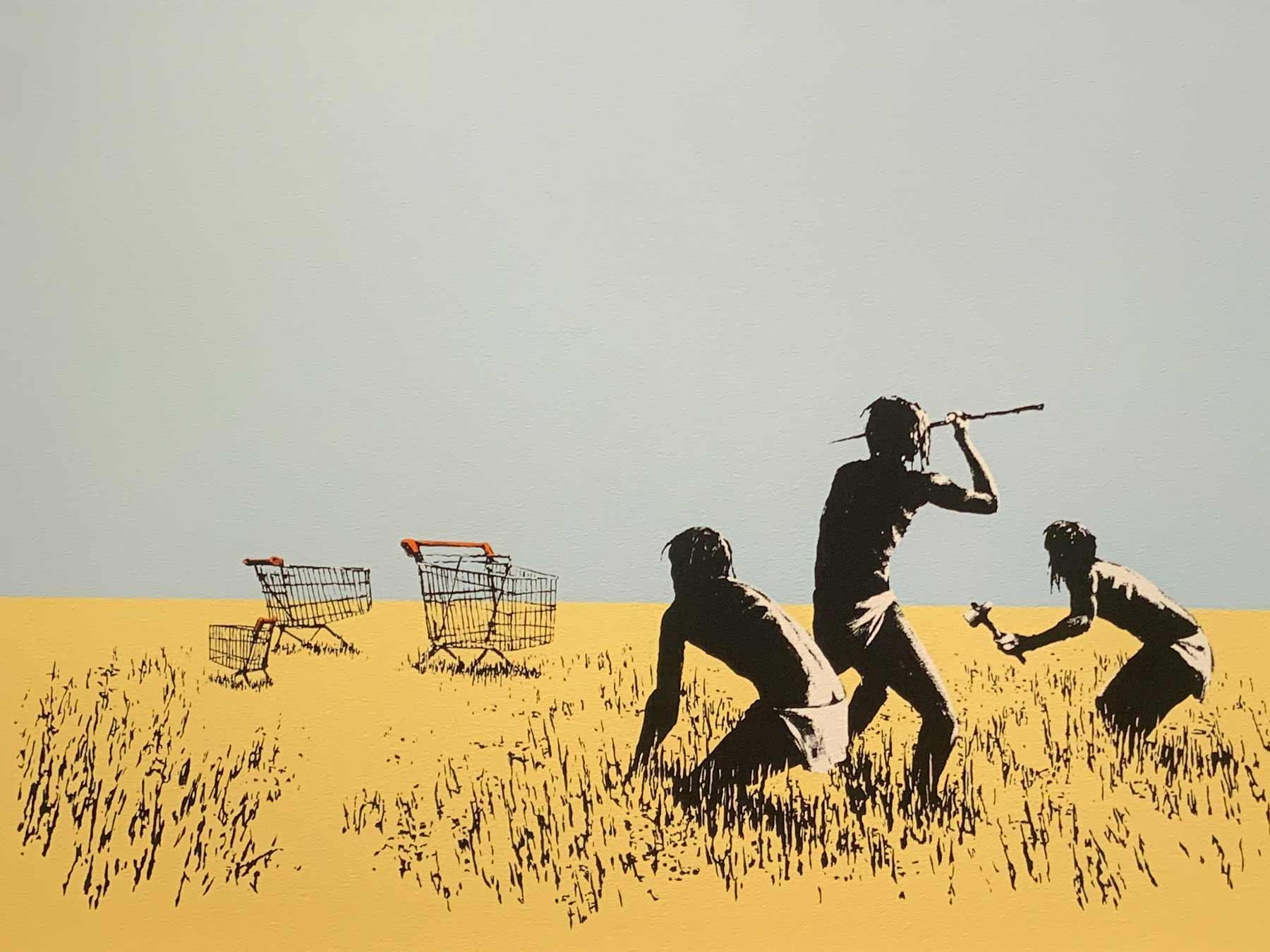Graffiti mit Jagd auf leere Einkaufswagen